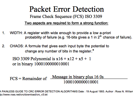 Packet Error Detection Frame Check Sequence (FCS) ISO 3309